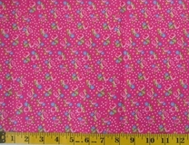 Pink Flowers and Polka Dots C6246 Fabric Cut, Single 145 x 110cm
