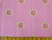 Pink Flowers and Polka Dots Fabric Cut, Single 145 x 110cm