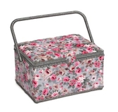 Pink Flowers on Grey Large Sewing Box