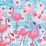 Pink Oasis Flamingos & Flowers on Blue Fabric