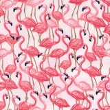 Pink Oasis Flamingos on Pink Fabric