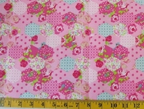 Pink Patchwork Flowers Fabric Cut, Single 145 x 110cm