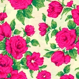 Pink Roses on Cream 100% Poplin Fabric