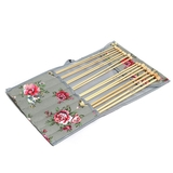 Pink & Yellow Floral on Grey Bamboo Knitting Pin Set Filled