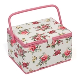Pink & Yellow Floral on White Large Sewing Basket
