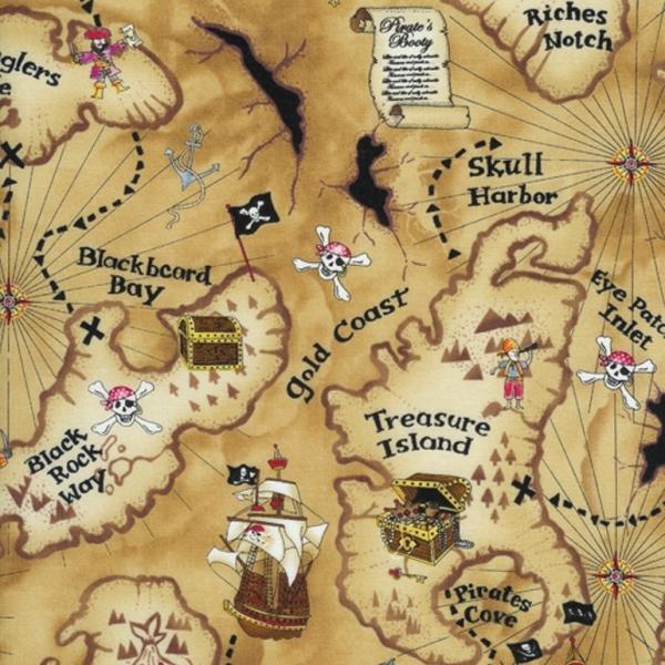 Pirate treasure map fabric haberdashery online for Kids pirate fabric