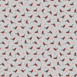 Polar Hugs Winter Robins on Light Grey Fabric