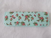 HobbyGift | Polka Dots & Roses on Light Blue Knitting Pin Case | Clearance