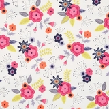 Paradise Posies in White Fabric Fat Quarter Single