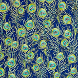 Pretty As A Peacock Cobalt Blue & Green Feathers Fabric