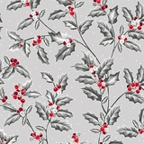 Pretty Poinsettias Holly Vine on Grey Fabric