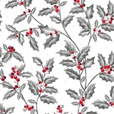Pretty Poinsettias Holly Vine on White Fabric
