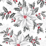 Pretty Poinsettias Large Poinsettias on White Fabric