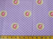 Purple Flowers and Polka Dots Fabric Cut, Single 145 x 110cm