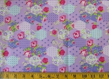 Purple Patchwork Flowers Fabric Cut, Single 145 x 110cm