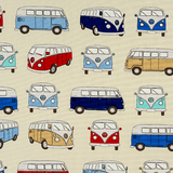 Red, Blue, Cream Multi Camper Vans Fabric For Craft & Bag Making