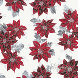 Red Floral & Metallic Silver Frost Winter Blossom Fabric