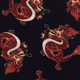 Red Metallic Dragons on Black Fabric