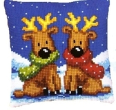 Reindeer Twins Cross Stitch Cushion