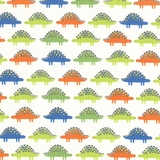 Roarsome Multicolour Stegosaurus on White Fabric