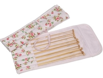 Rose on Pink Bamboo Knitting Pin Set Filled