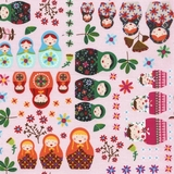 Russian Dolls on Pink Fabric