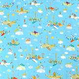 Safari in The Sky Animals In Planes on Blue Fabric