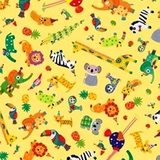 Safari in The Sky Tossed Animals on Yellow Fabric