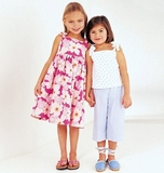 See and Sew Girls Dress, Top and Pants B3889 Size 6, 7 + 8
