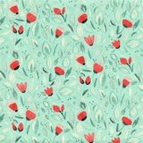 Sew Sweet Coral Floral on Turquoise Fabric