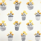 Sew Sweet Yellow & Grey Floral in Pots on White Fabric