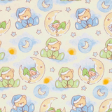 Sleepy Bear Dreams on Cream Flannel Fabric
