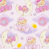 Sleepy Bear Dreams on Pink Flannel Fabric