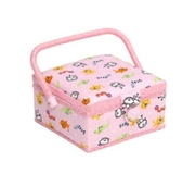 Small Animals on Pink Sewing Box
