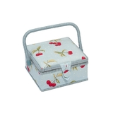 Small Cherry Spot on Light Blue Sewing Basket