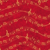 Sounds of the Season Musical Notes Red Fabric