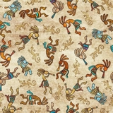 Southwest Soul Kokopelli Dancers on Tan Fabric