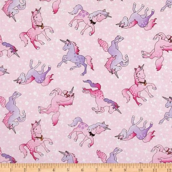 Sparkly unicorns in pink fabric for Space unicorn fabric