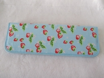 HobbyGift | Strawberries on Light Blue Knitting Pin Case | Clearance