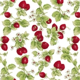 Strawberries With Leaves on Off White Fabric
