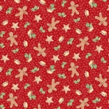 Sugar & Spice Christmas Collection on Red Fabric