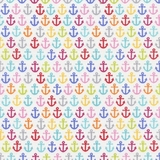 Sunkissed Swimmers Multi Anchors on White Fabric