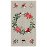 Swedish Christmas Birds & Wreath on Light Grey Fabric Panel