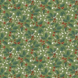 Swedish Christmas Holly Berries on Green Fabric
