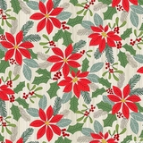 Swedish Christmas Red Poinsettias on Light Grey Fabric