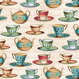 Teapot Flora Multi Teacups on Cream Fabric