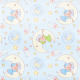 Teddy Bear Dreams on Blue Flannel Fabric