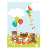 Teddy Bears Picnic Fabric Panel