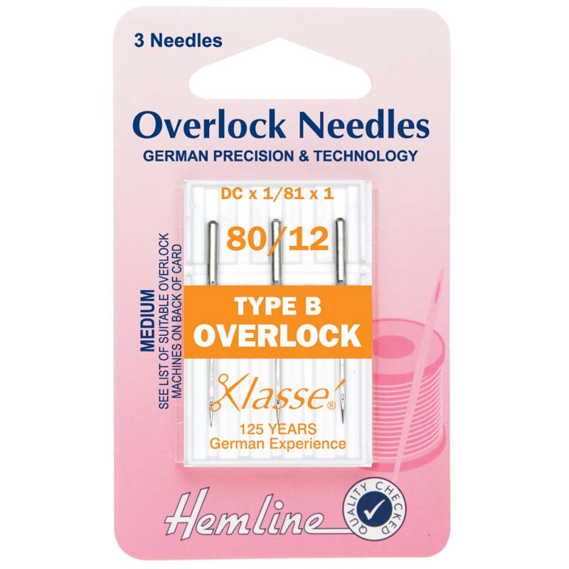 Hemline Overlock/Serger Machine Needles: Type B: 80/12: 5 Pieces