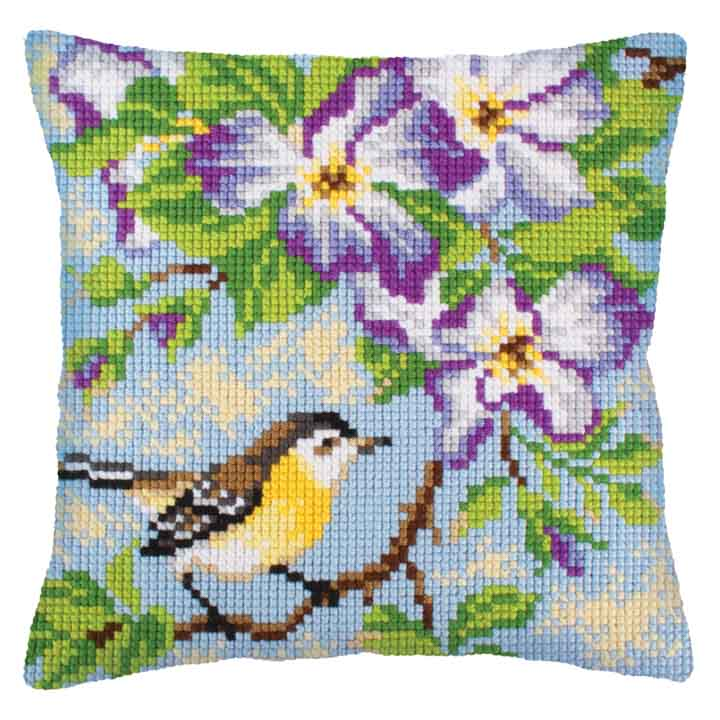 Collection D Art Cross Stitch Cushion: Little Titmouse on a Branch